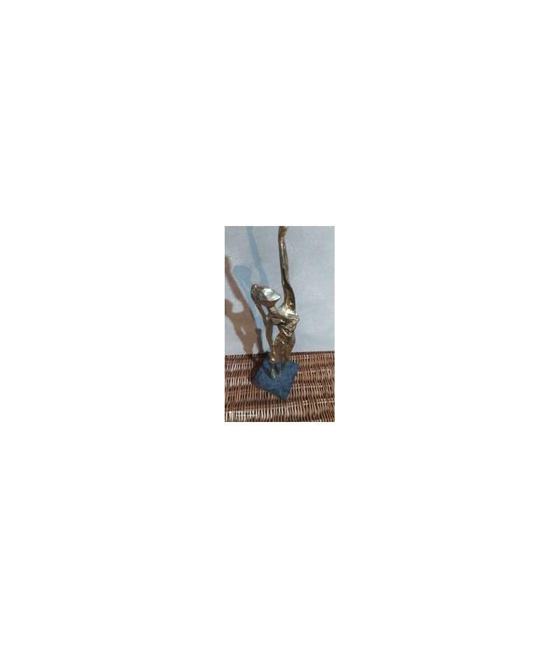 Statuina in bronzo con base in marmo